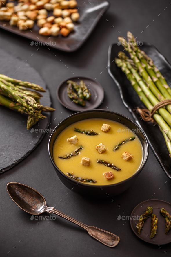 Homemade asparagus cream soup - Stock Photo - Images