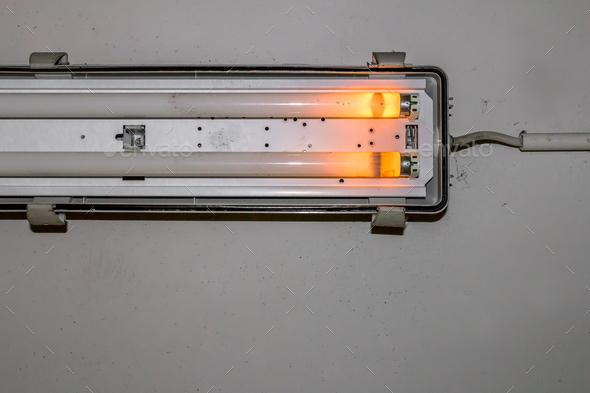 Broken neon lamp - Stock Photo - Images