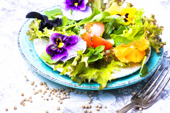 Spring flowers salad - Stock Photo - Images