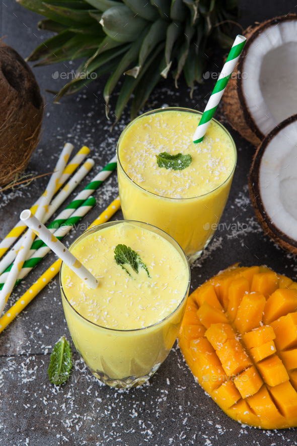 Mango Smoothie / Lassi - Stock Photo - Images