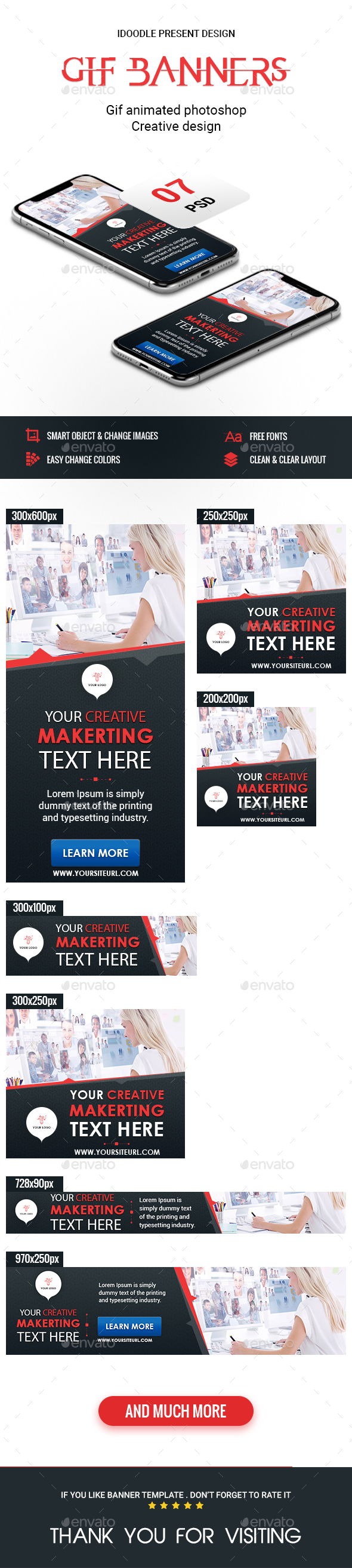 Animated GIF Banner Ads - Multipurpose Banners Ads - Banners & Ads Web Elements