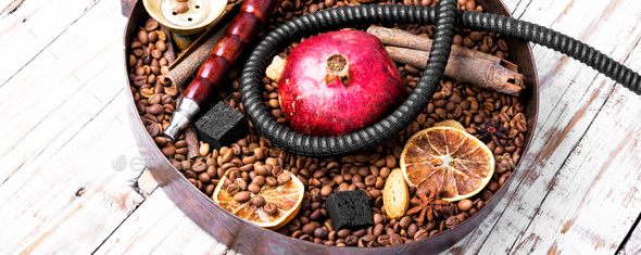 Asian tobacco hookah with coffee aroma - Stock Photo - Images