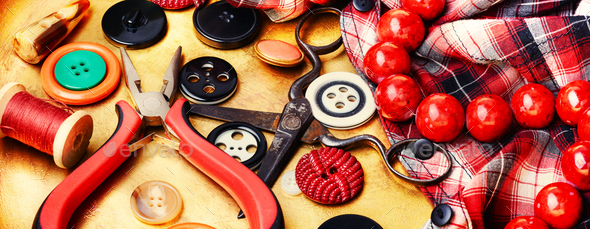 tailor sewing tools - Stock Photo - Images