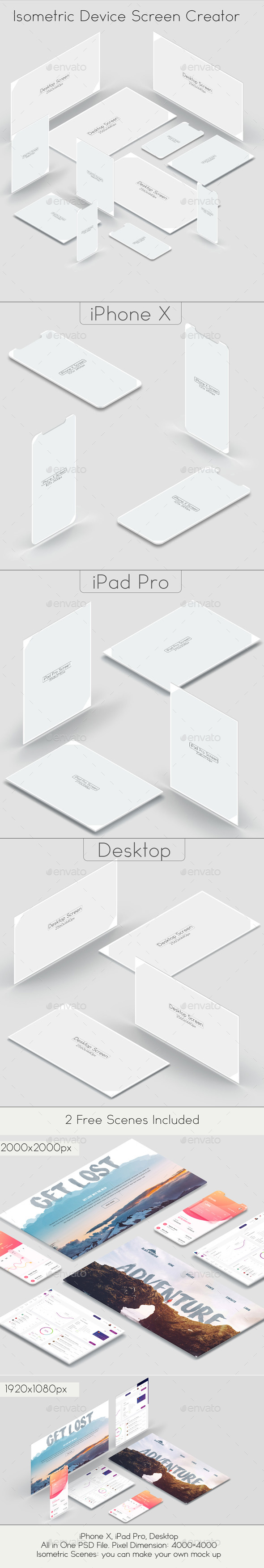 Isometric Device Screen Creator - Displays Product Mock-Ups
