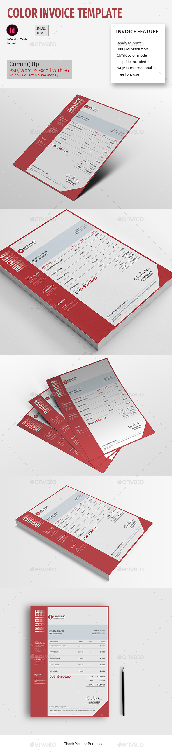 Color Invoice Template - Proposals & Invoices Stationery
