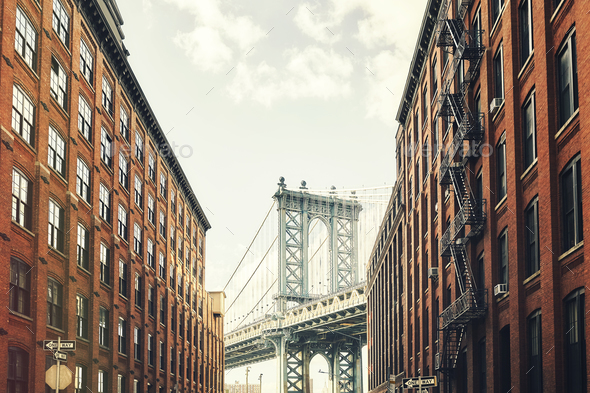Manhattan Bridge Seen From Dumbo New York Stock Photo By