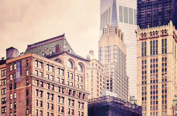 Old and modern buildings in New York City, USA. - Stock Photo - Images