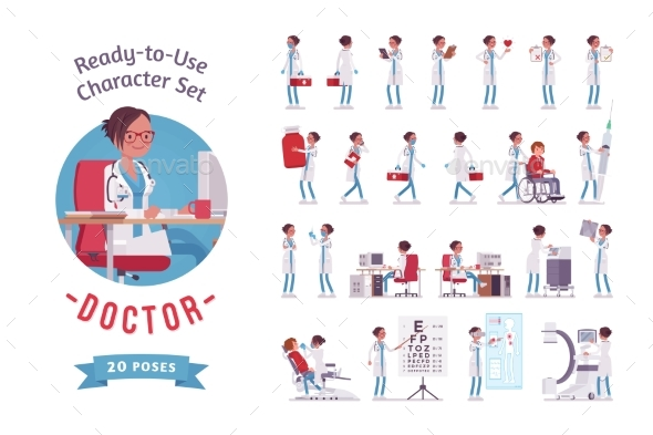 Female Doctor Ready-to-use Character Set - Health/Medicine Conceptual