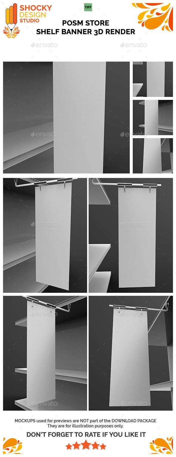 Posm Store Shelf Banner 3D Render - Objects 3D Renders