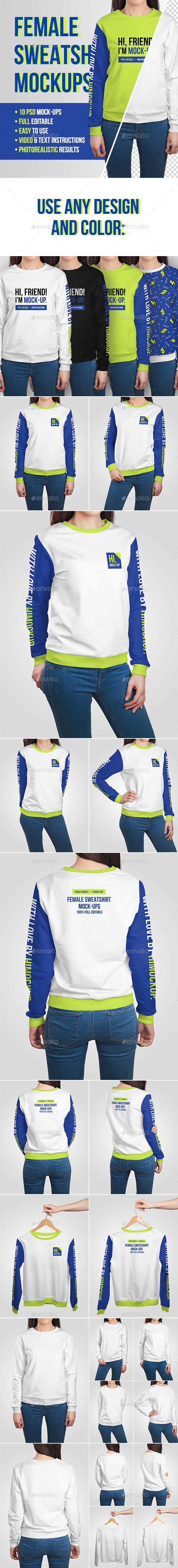Female Sweatshirt Mockups - Apparel Product Mock-Ups