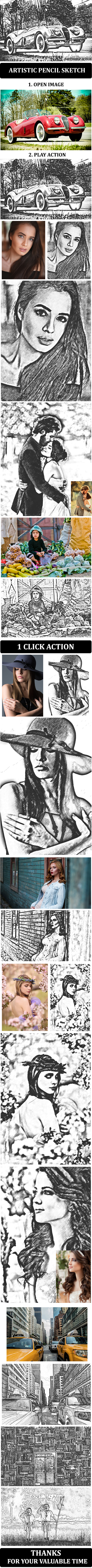 Artistic Pencil Sketch :: Photoshop Action - Photo Effects Actions