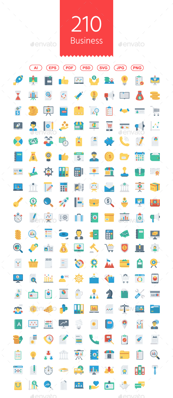 210 Startup & Business Flat icons - Business Icons