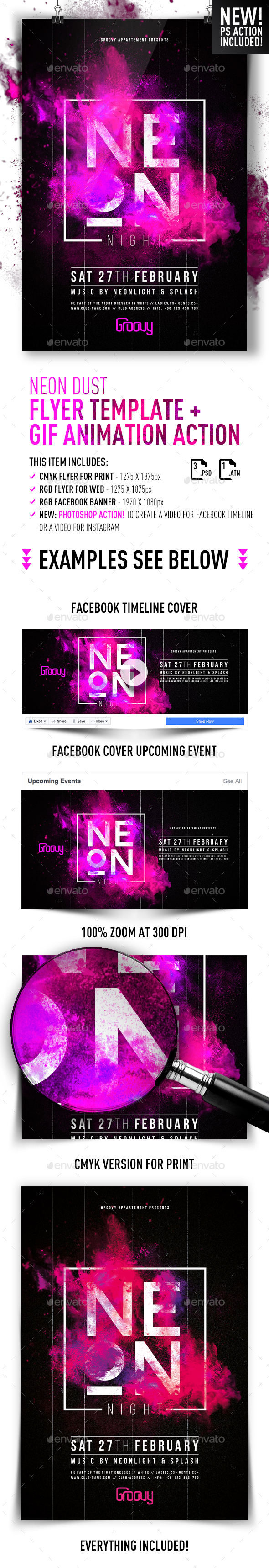Neon Dusk Flyer + GIF Animation Action - Clubs & Parties Events