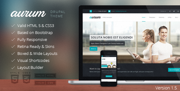 Image of Aurum - Responsive Multipurpose Drupal Theme