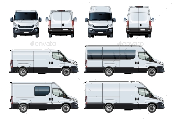 Vector Vans Set Template Isolated on White - Man-made Objects Objects