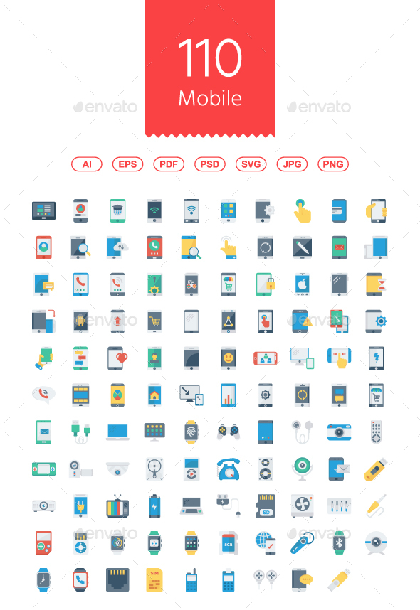 110 Mobile & Smart Devices Flat icons - Technology Icons