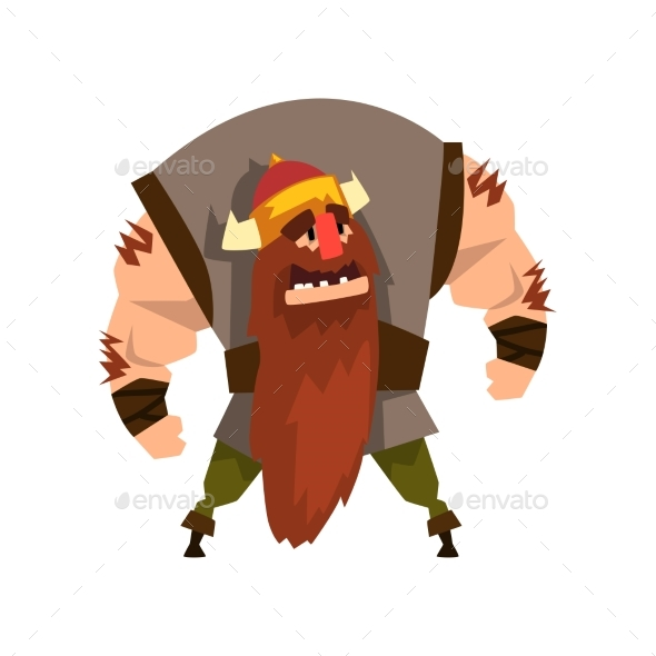 Viking Warrior Character in Helmet with Horns - Abstract Conceptual