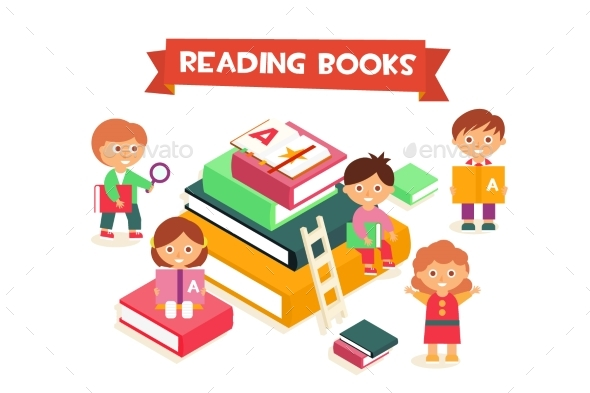 Children Reading Books, Boys and Girls Enjoying - Miscellaneous Vectors