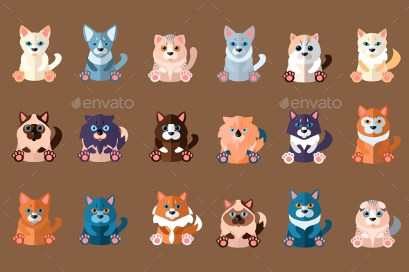 Big Cats Collection. Domestic Animals. Home Pets - Animals Characters