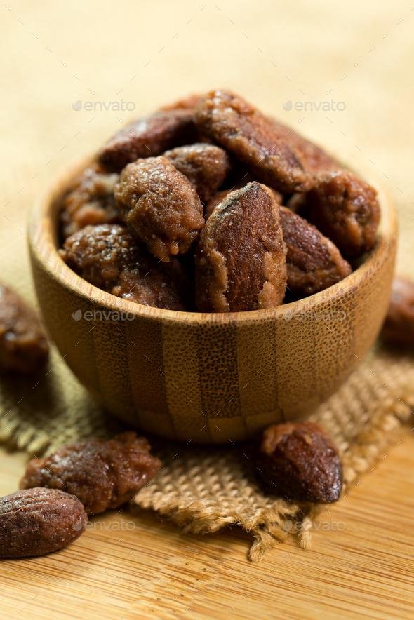 Sugar coated roast almond - Stock Photo - Images