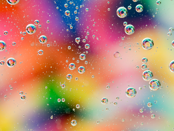 colorful wallpaper with oil drops - Stock Photo - Images