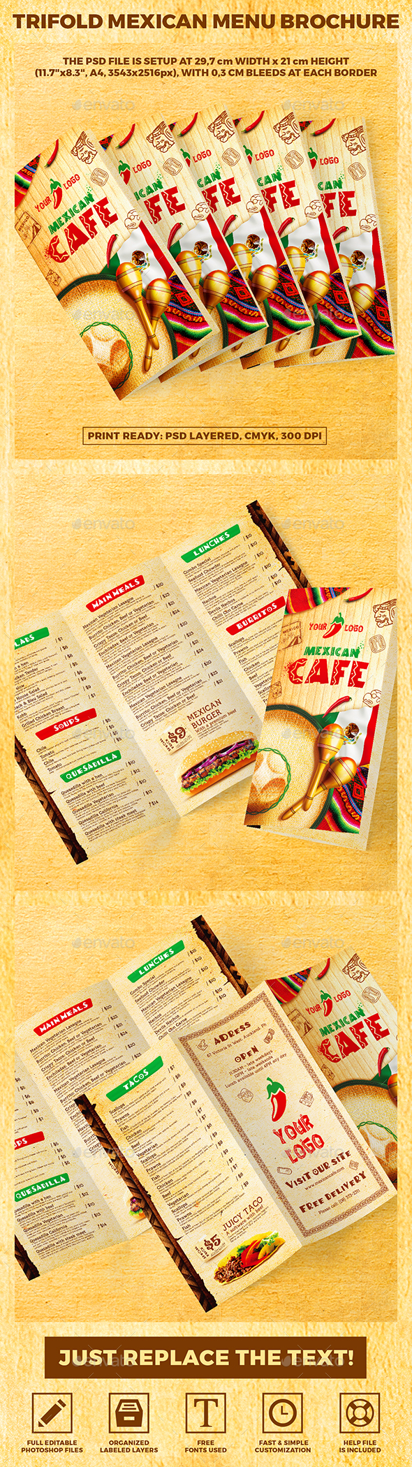 Trifold A4 Mexican Menu Brochure vol.2 - Food Menus Print Templates
