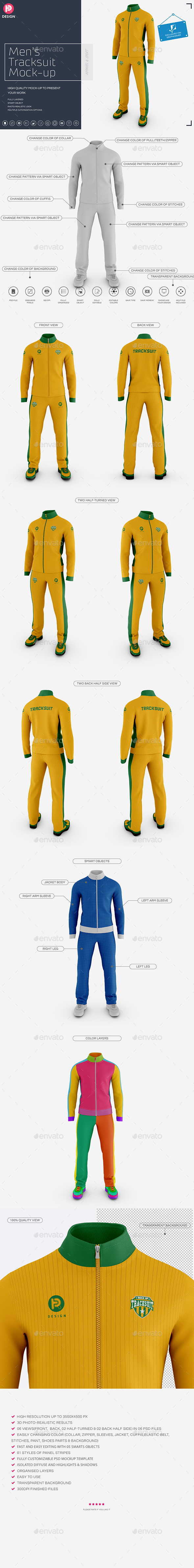 Men's Tracksuit Stand Collar Mock up - Miscellaneous Apparel