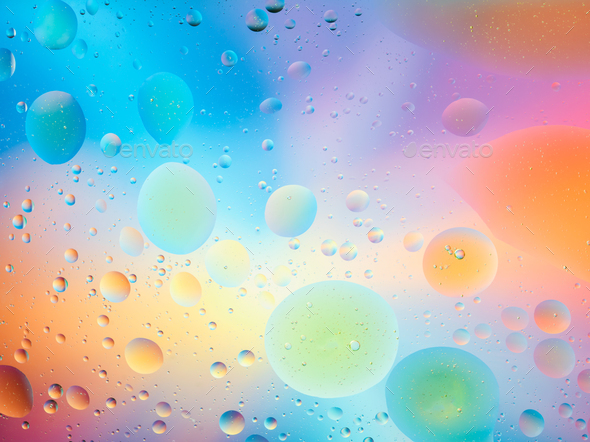 macro of oil mixed with water - Stock Photo - Images
