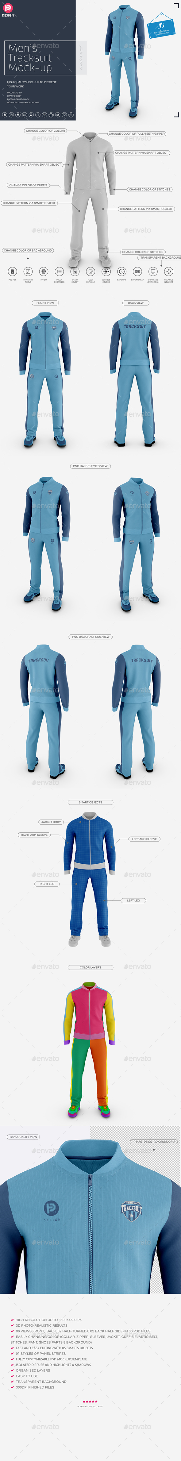 Men's Tracksuit Baseball Collar Mockup - Miscellaneous Apparel