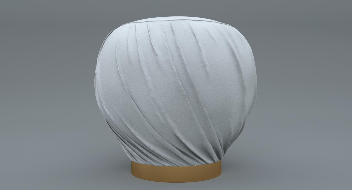 Pleated Grey Ottoman-Stool