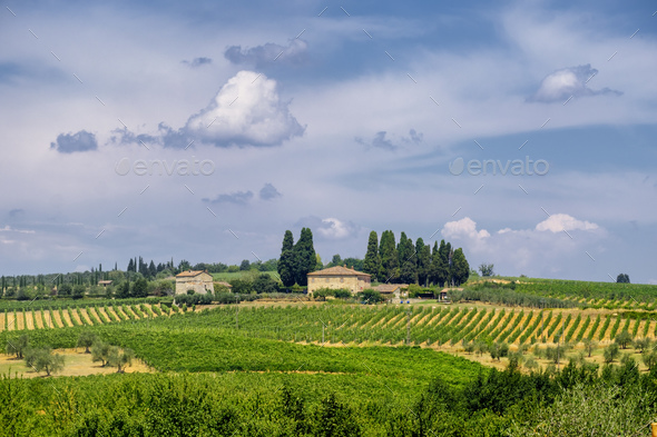 Old typical farm in the Chianti region (Tuscany) - Stock Photo - Images