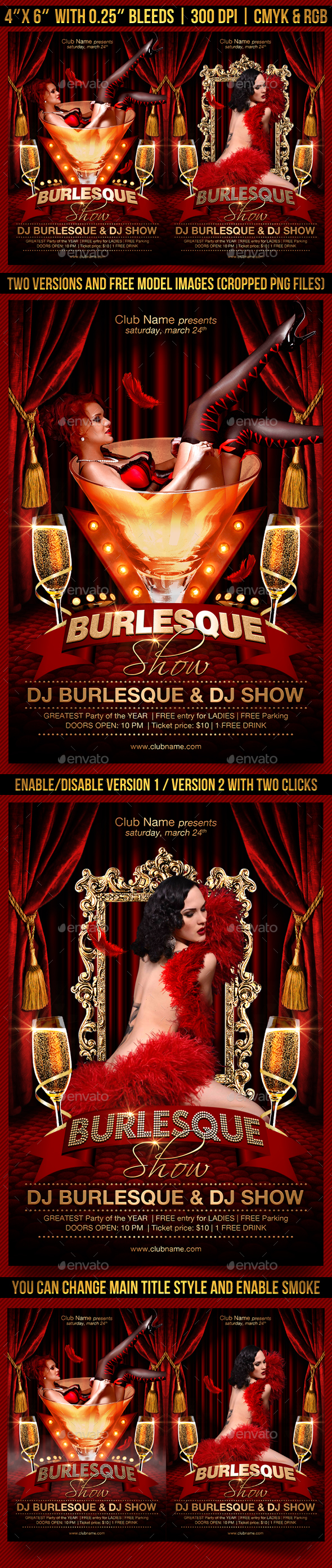 Burlesque Show Flyer Template - Clubs & Parties Events