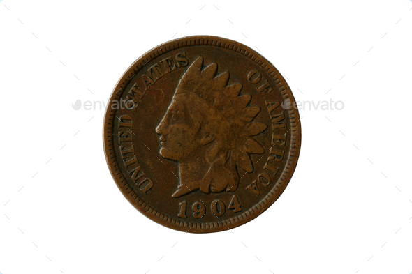 Indian head penny 1904 - Stock Photo - Images