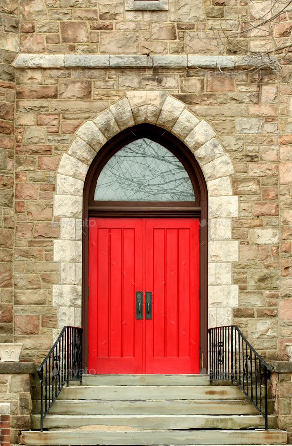 Red church door - Stock Photo - Images