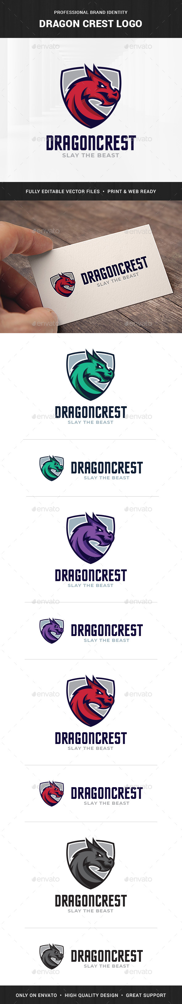 Dragon Crest Logo Template - Animals Logo Templates