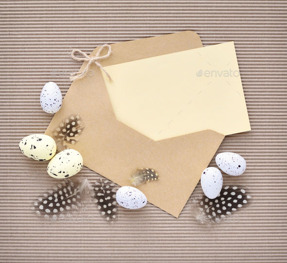 Festive easter background with eggs with empty space for your gr - Stock Photo - Images