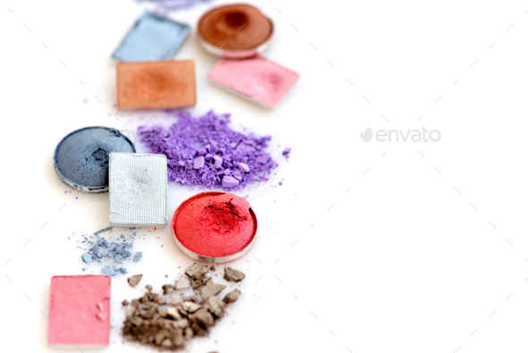 crushed eye shadow isolated on white background with copy space - Stock Photo - Images