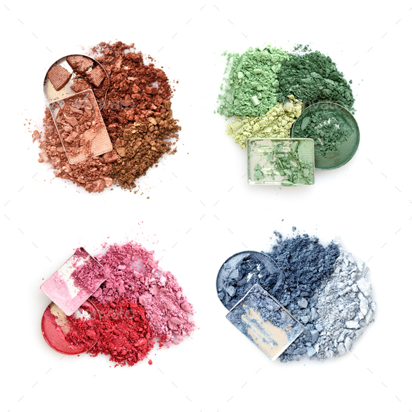 Crushed color eyeshadows on white background. Top view - Stock Photo - Images