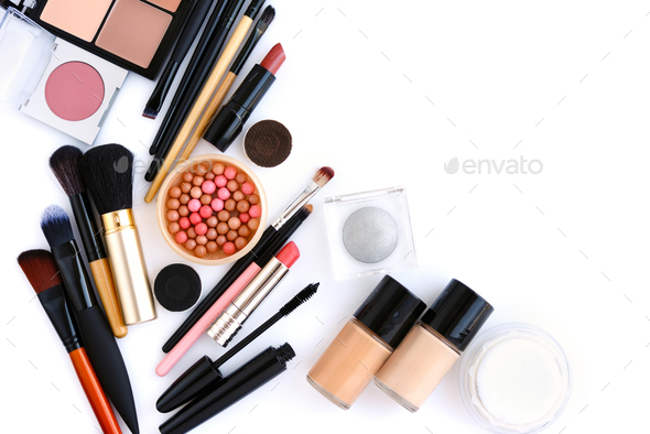 Makeup brush and decorative cosmetics on a white background with - Stock Photo - Images