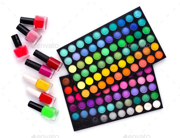 Set of decorative cosmetics and coloured nail polish bottles  on - Stock Photo - Images