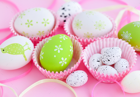 Festive background with easter eggs and ribbons - Stock Photo - Images