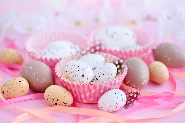Festive easter background with eggs and ribbons - Stock Photo - Images