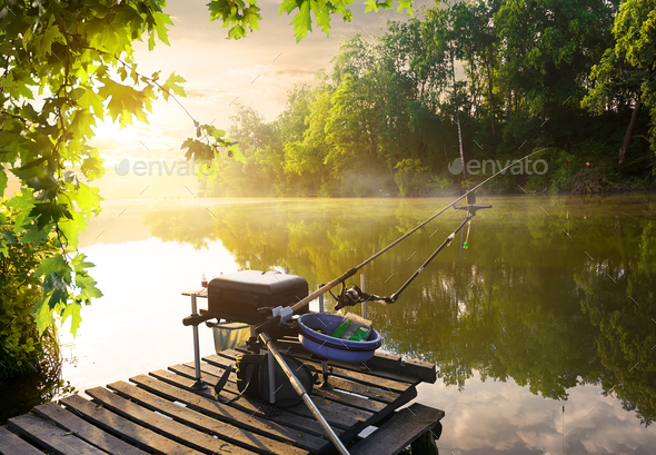 Fishing equipment on pier - Stock Photo - Images