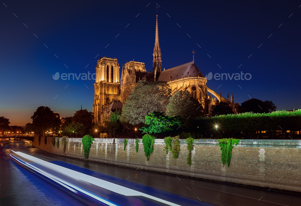Notre Dame cathedral at night - Stock Photo - Images
