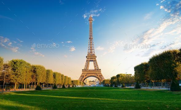 Eiffel Tower in the morning - Stock Photo - Images