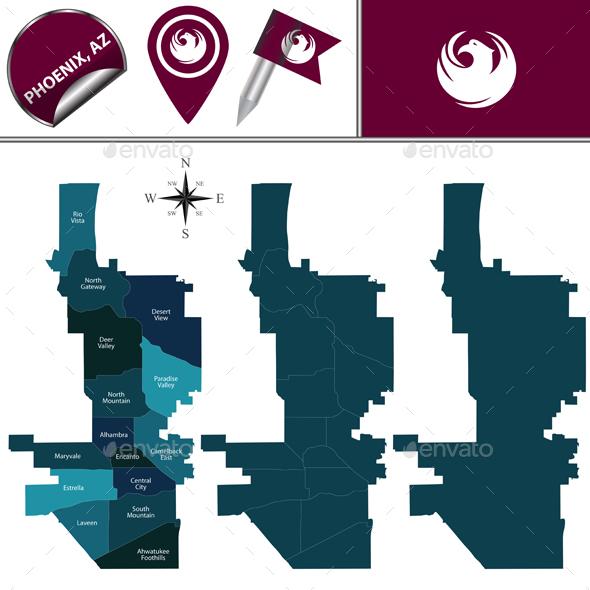 Map of Phoenix with Neighborhoods - Travel Conceptual
