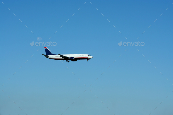 Passenger jet plane landing - Stock Photo - Images