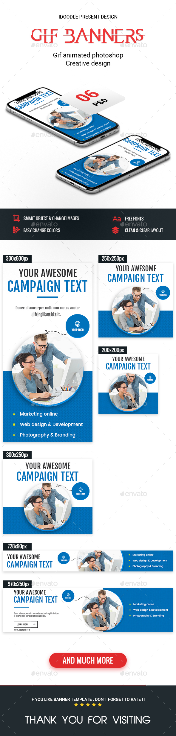 Animated GIF Banner Ads - Multipurpose Banner Ads - Banners & Ads Web Elements
