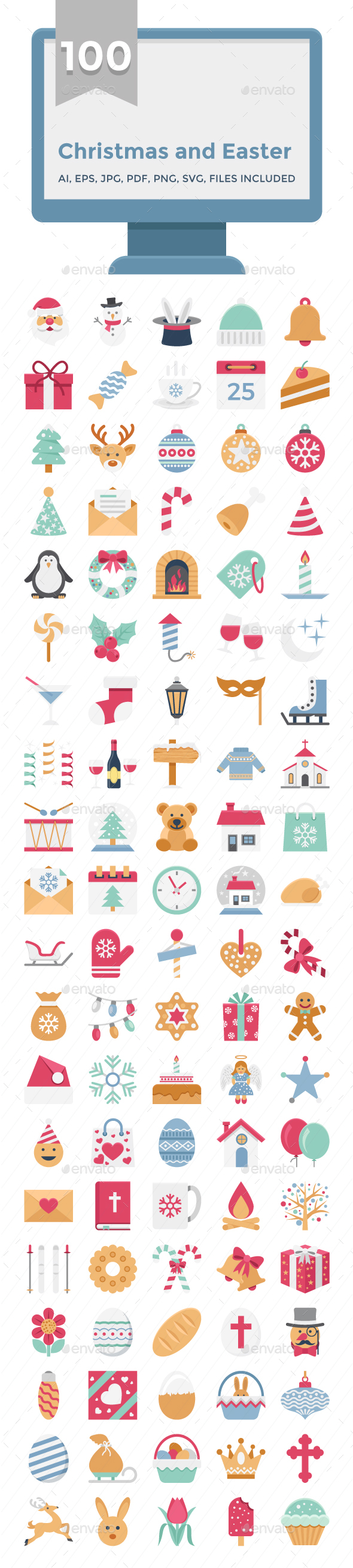 Easter and Christmas Vector Icon Pack - Icons