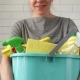 Woman Holding Bucket with Cleaning Products - VideoHive Item for Sale